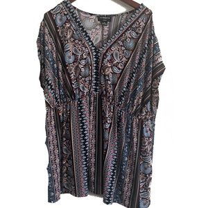 Liz Claiborne 2X Multicolor Loose Fitting Blouse